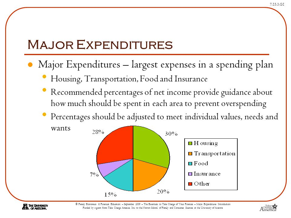 © Family Economics & Financial Education – September 2009 – The Essentials to Take Charge of Your Finances – Major Expenditures Introduction Funded by a grant from Take Charge America, Inc.