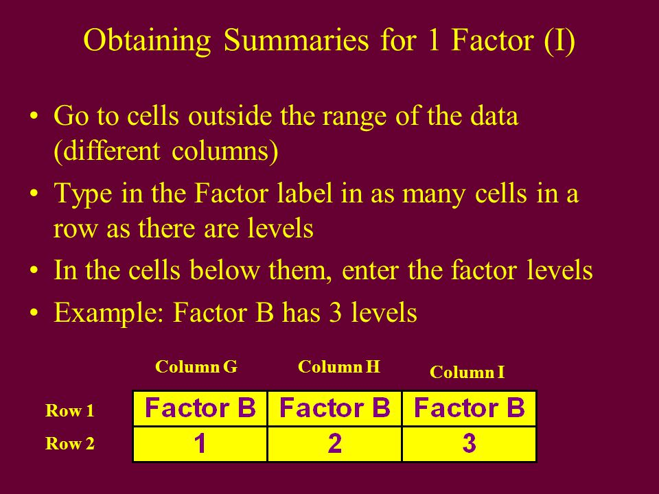 Obtaining Summaries for 1 Factor (I) Go to cells outside the range of the data (different columns) Type in the Factor label in as many cells in a row as there are levels In the cells below them, enter the factor levels Example: Factor B has 3 levels Column GColumn H Column I Row 1 Row 2