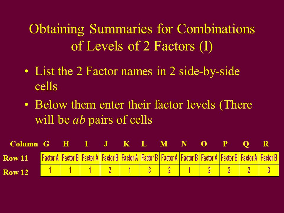 Obtaining Summaries for Combinations of Levels of 2 Factors (I) List the 2 Factor names in 2 side-by-side cells Below them enter their factor levels (There will be ab pairs of cells Row 11 Row 12 Column G H I J K L M N O P Q R