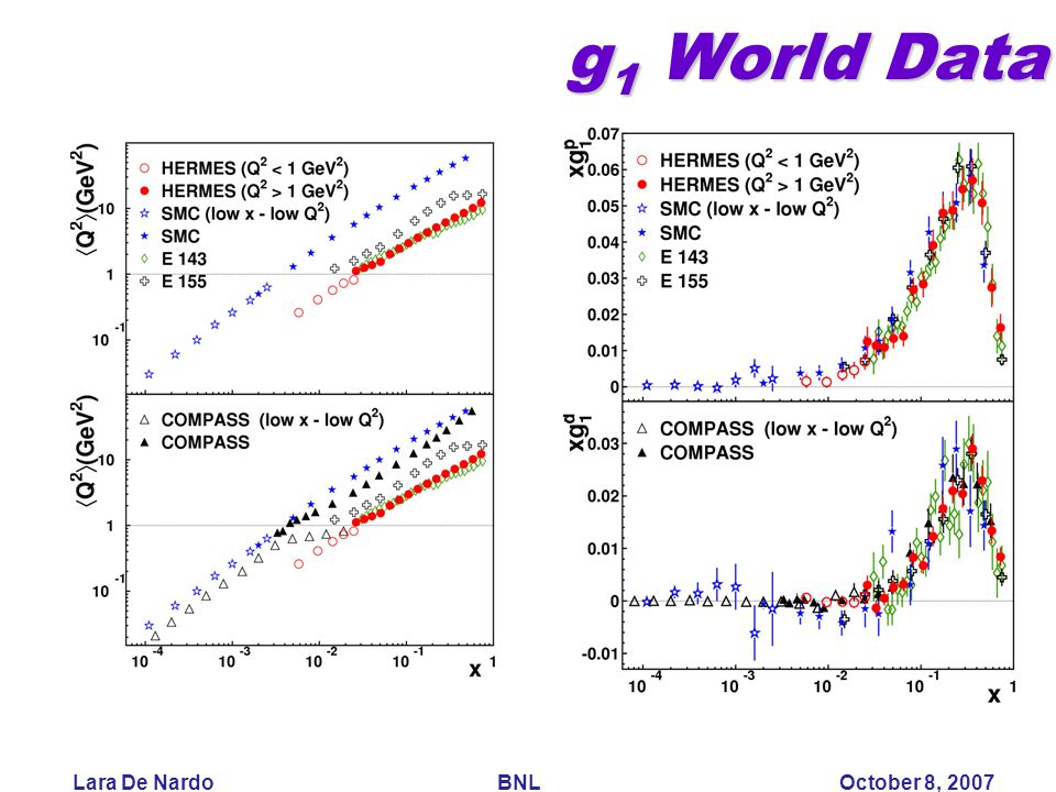 Lara De Nardo BNL October 8, 2007 g 1 World Data g 1 World Data