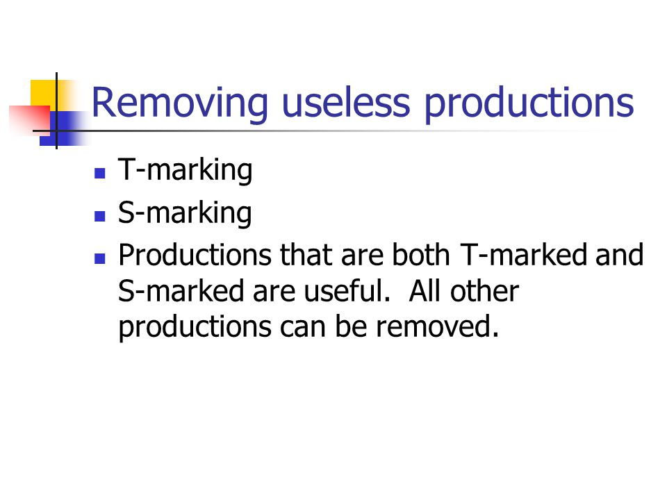 Removing useless productions T-marking S-marking Productions that are both T-marked and S-marked are useful.