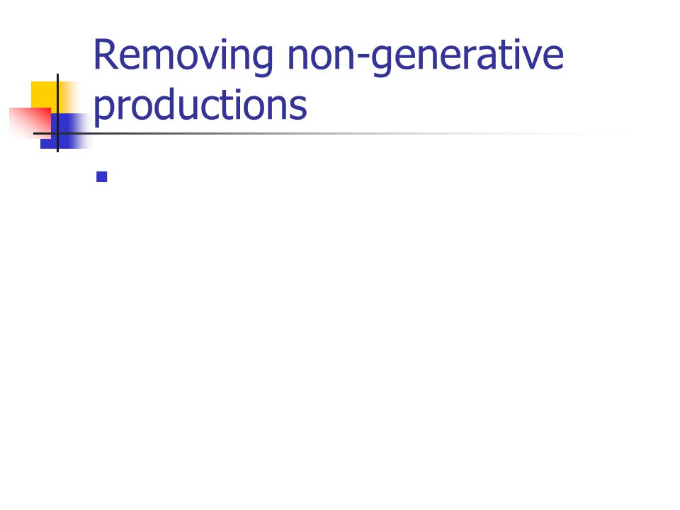 Removing non-generative productions