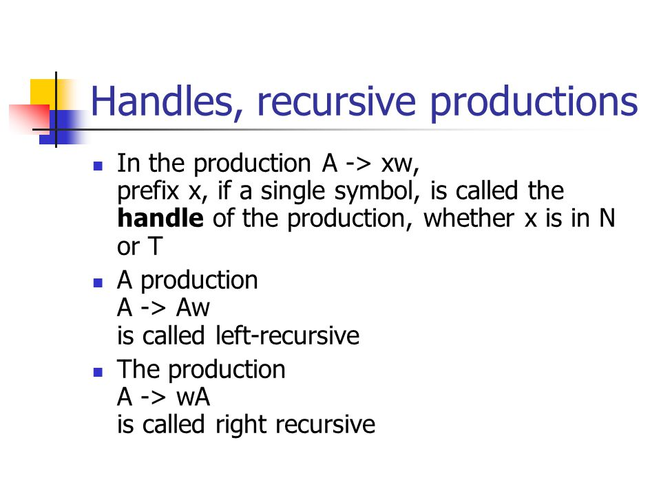 Handles, recursive productions In the production A -> xw, prefix x, if a single symbol, is called the handle of the production, whether x is in N or T A production A -> Aw is called left-recursive The production A -> wA is called right recursive