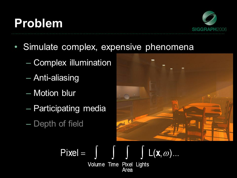 Problem Simulate complex, expensive phenomena –Complex illumination –Anti-aliasing –Motion blur –Participating media –Depth of field