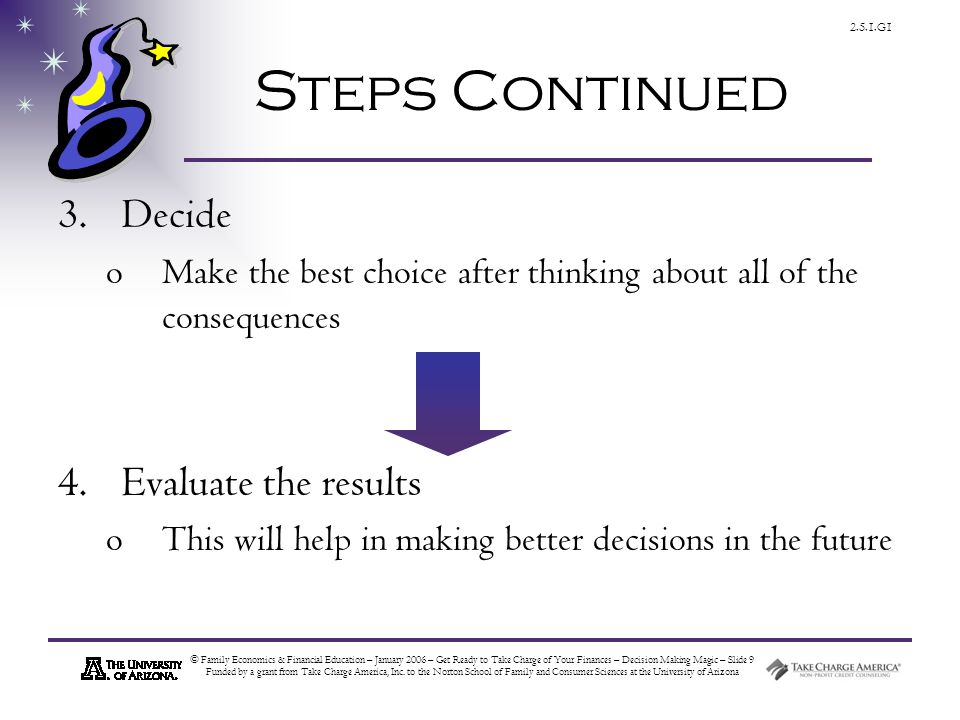 © Family Economics & Financial Education – January 2006 – Get Ready to Take Charge of Your Finances – Decision Making Magic – Slide 9 Funded by a grant from Take Charge America, Inc.