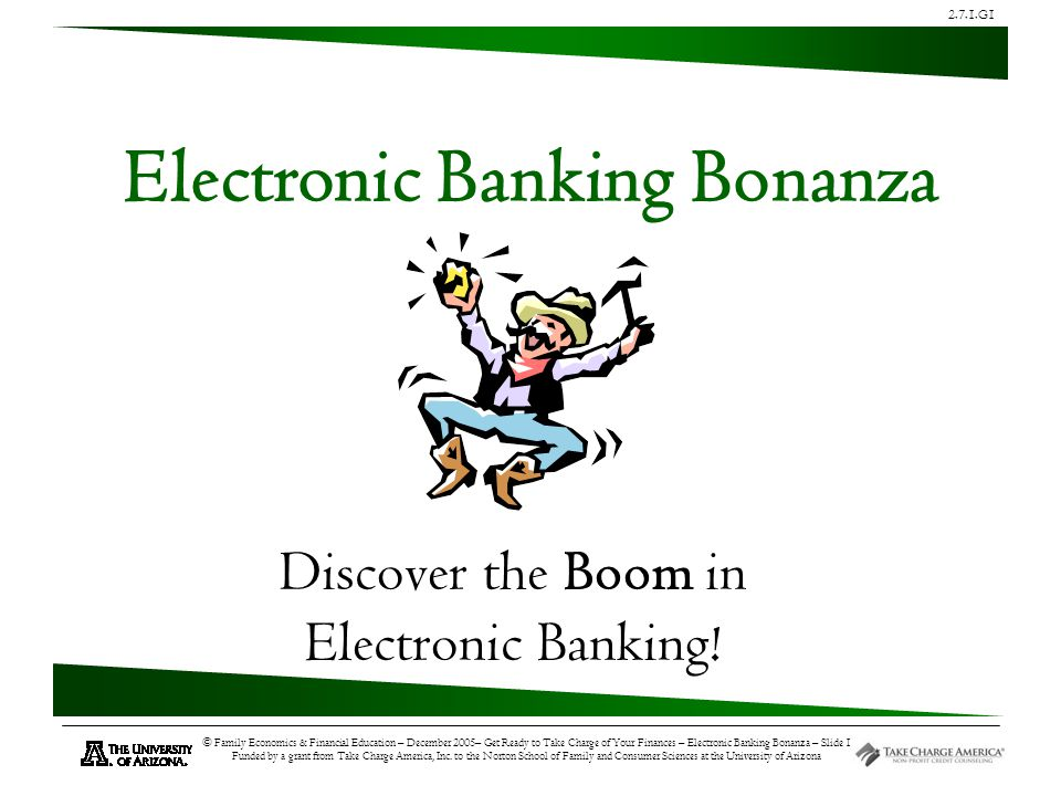 2.7.1.G1 © Family Economics & Financial Education – December 2005– Get Ready to Take Charge of Your Finances – Electronic Banking Bonanza – Slide 12 Funded by a grant from Take Charge America, Inc.