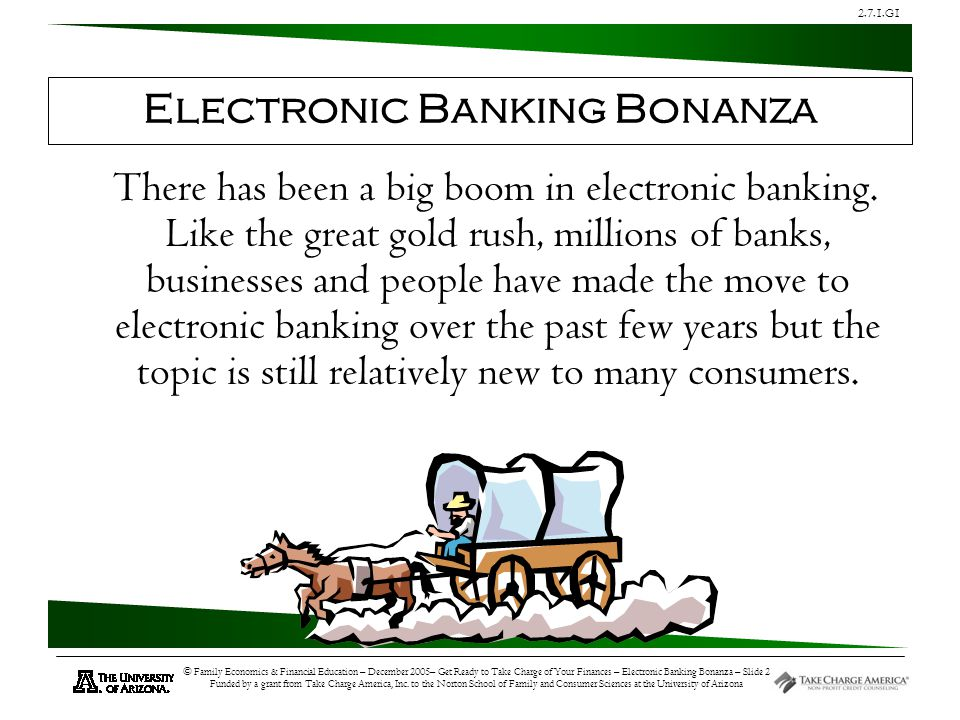 2.7.1.G1 © Family Economics & Financial Education – December 2005– Get Ready to Take Charge of Your Finances – Electronic Banking Bonanza – Slide 13 Funded by a grant from Take Charge America, Inc.
