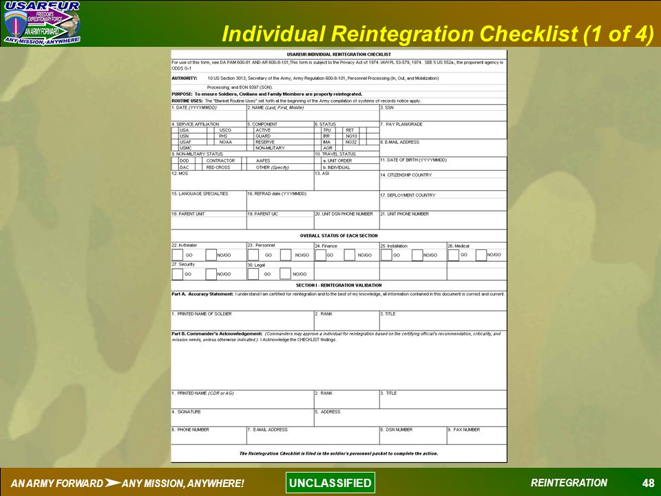 48 UNCLASSIFIED AN ARMY FORWARD ANY MISSION, ANYWHERE! REINTEGRATION Individual Reintegration Checklist (1 of 4)
