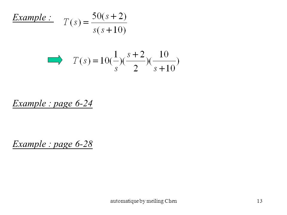automatique by meiling Chen13 Example : Example : page 6-24 Example : page 6-28