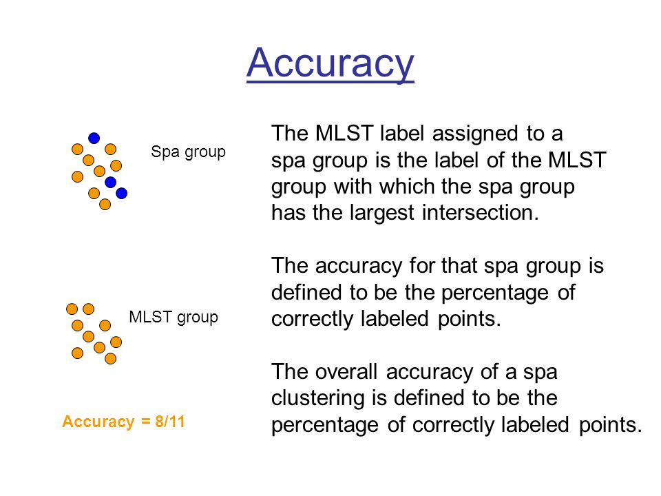 Accuracy Spa group MLST group The MLST label assigned to a spa group is the label of the MLST group with which the spa group has the largest intersection.