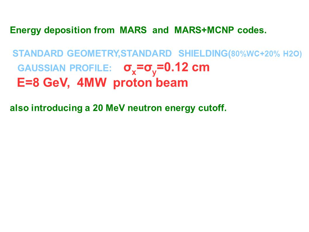Energy deposition from MARS and MARS+MCNP codes, also by introducing a 20 MeV neutron energy cutoff.