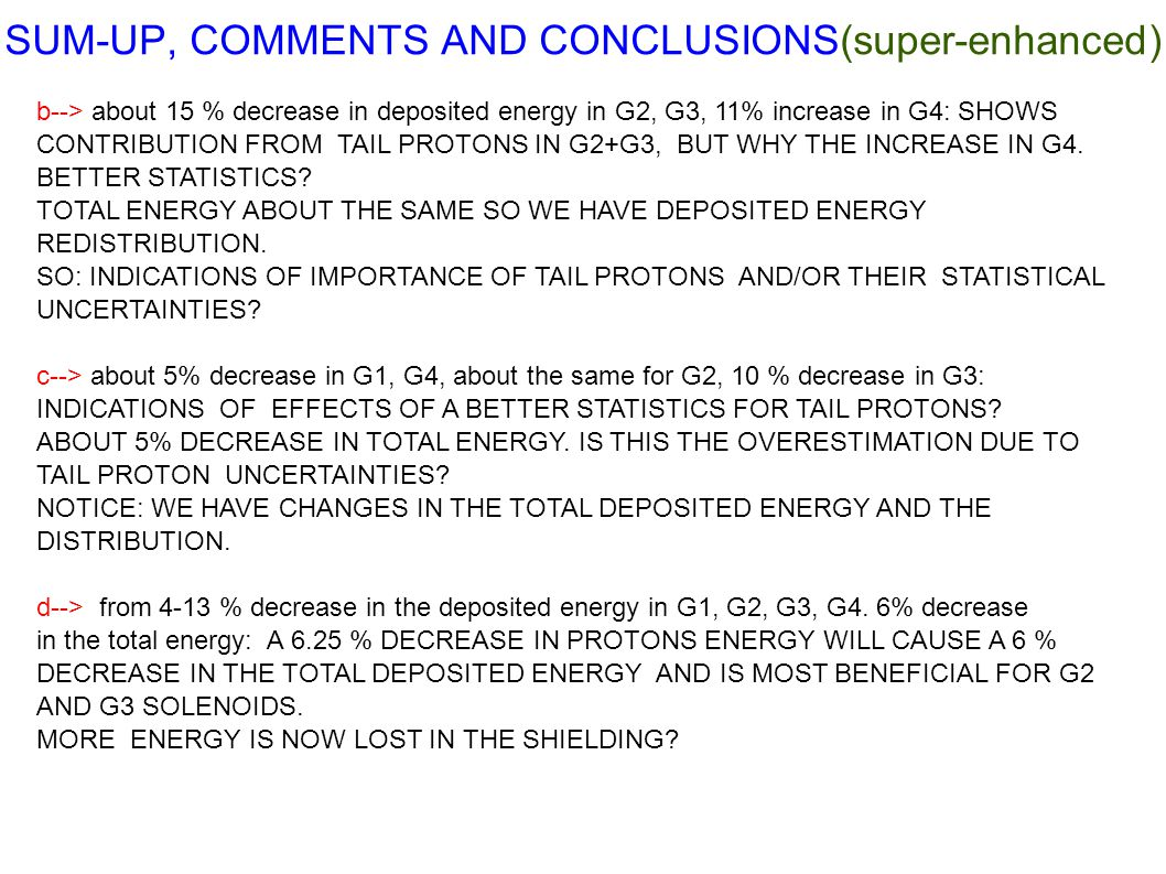 SUM-UP, COMMENTS AND CONCLUSIONS(super-enhanced)‏ b--> about 15 % decrease in deposited energy in G2, G3, 11% increase in G4: SHOWS CONTRIBUTION FROM TAIL PROTONS IN G2+G3, BUT WHY THE INCREASE IN G4.