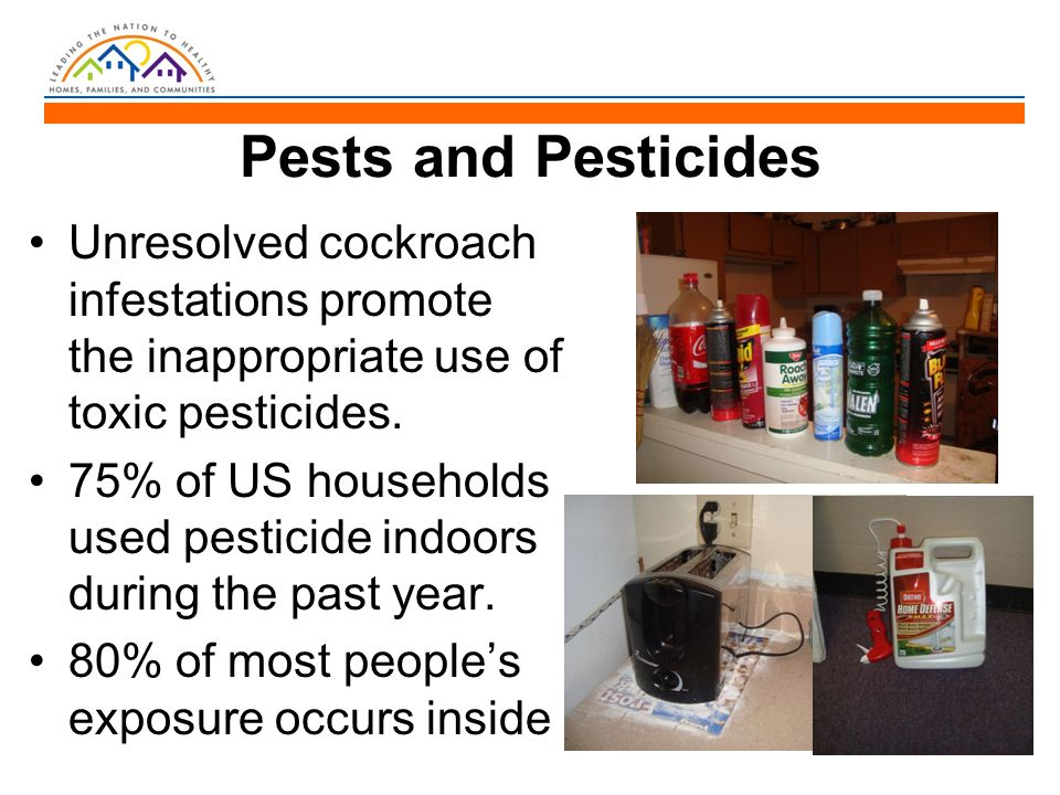 Pests and Pesticides Unresolved cockroach infestations promote the inappropriate use of toxic pesticides. 75% of US households used pesticide indoors