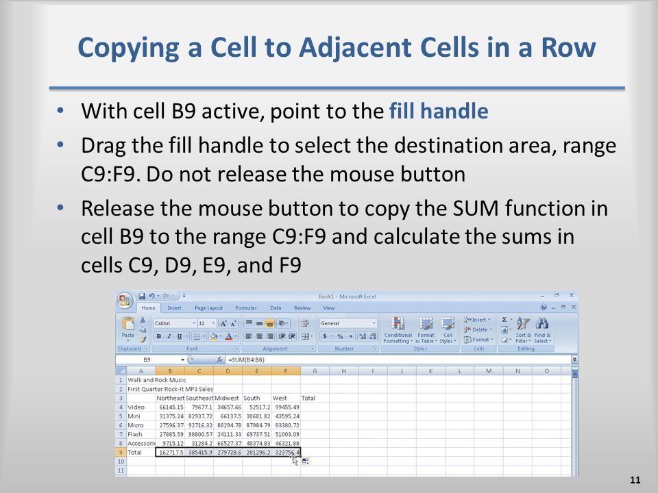 Copying a Cell to Adjacent Cells in a Row With cell B9 active, point to the fill handle Drag the fill handle to select the destination area, range C9: