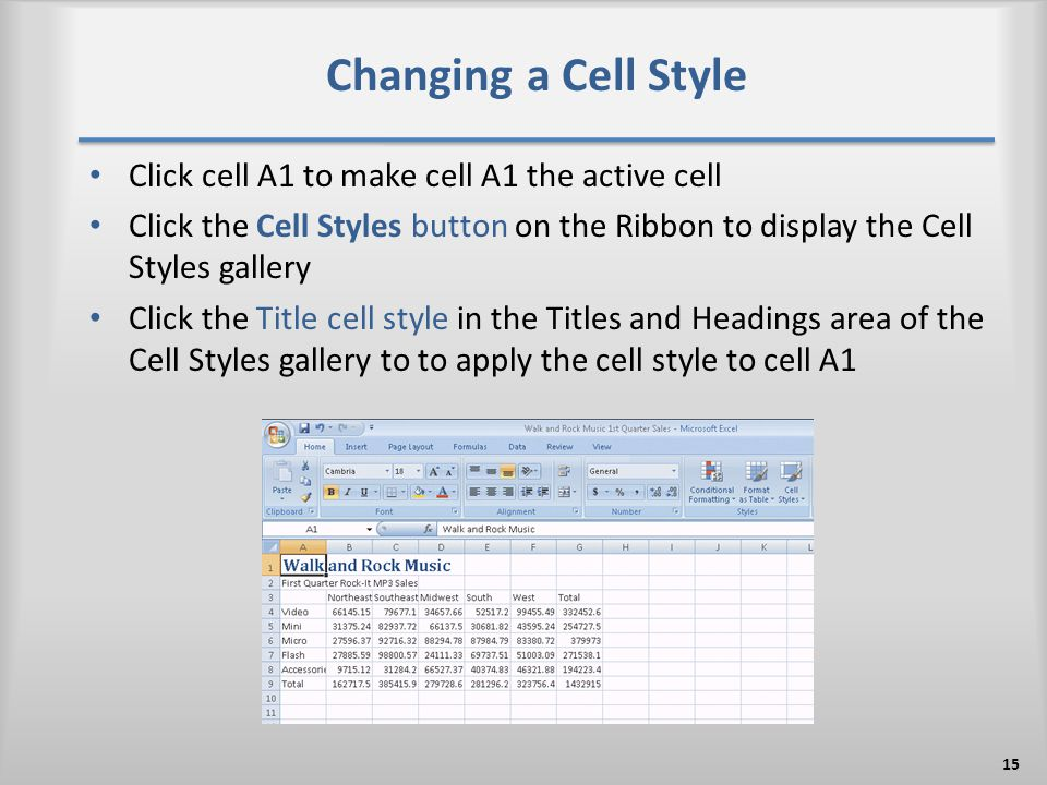 Changing a Cell Style Click cell A1 to make cell A1 the active cell Click the Cell Styles button on the Ribbon to display the Cell Styles gallery Clic