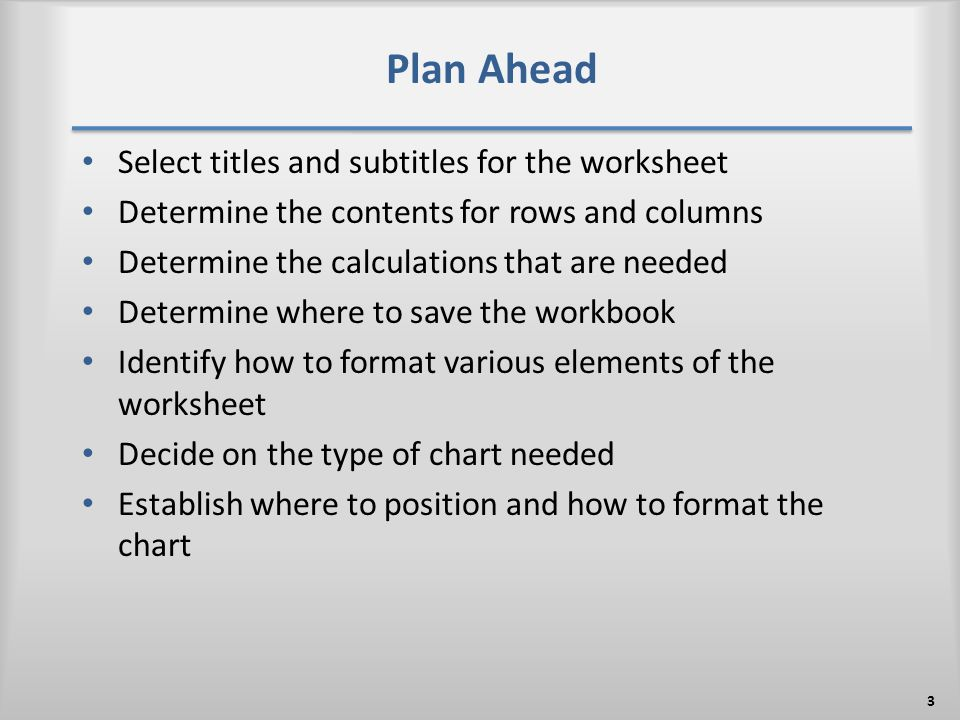 Plan Ahead Select titles and subtitles for the worksheet Determine the contents for rows and columns Determine the calculations that are needed Determine where to save the workbook Identify how to format various elements of the worksheet Decide on the type of chart needed Establish where to position and how to format the chart 3