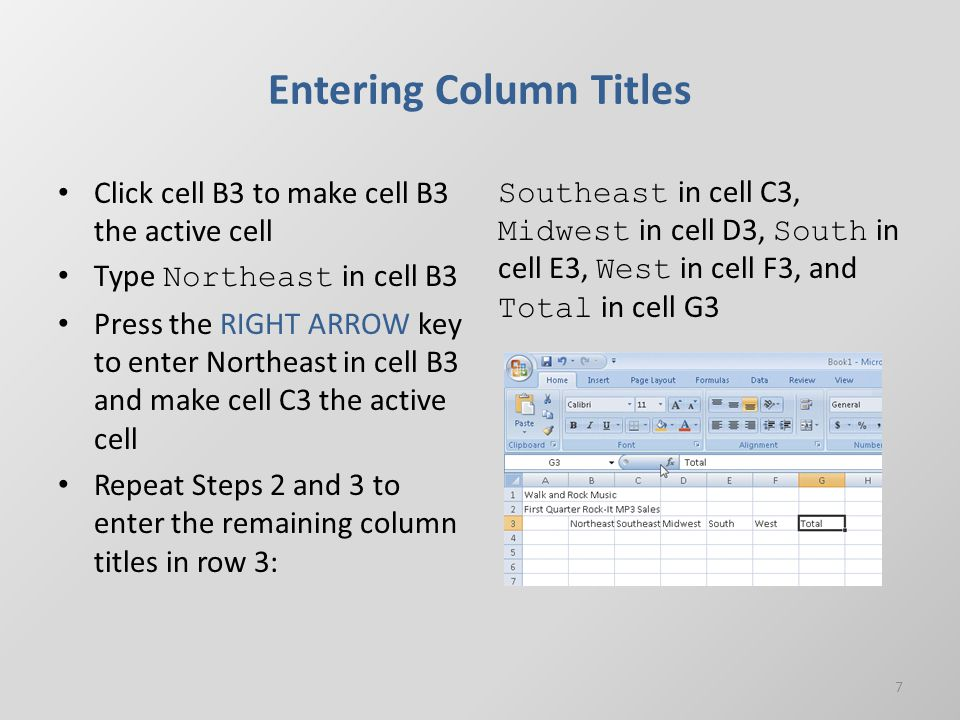 Entering Column Titles Click cell B3 to make cell B3 the active cell Type Northeast in cell B3 Press the RIGHT ARROW key to enter Northeast in cell B3