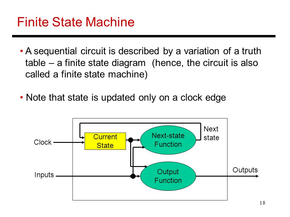 18 Finite State Machine A sequential circuit is described by a variation of a truth table – a finite state diagram (hence, the circuit is also called
