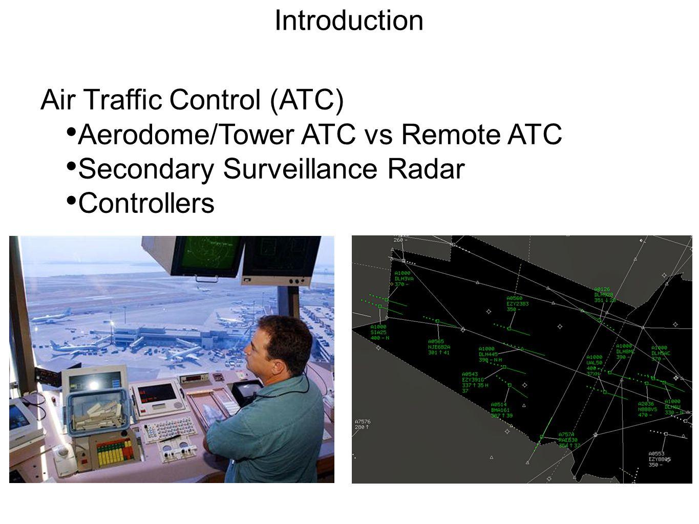 Introduction Air Traffic Control (ATC) Aerodome/Tower ATC vs Remote ATC Secondary Surveillance Radar Controllers
