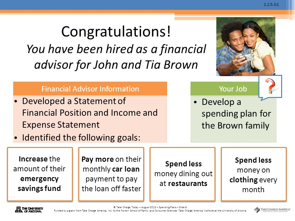 2.2.5.G1 © Take Charge Today – August 2013 – Spending Plans – Slide 9 Funded by a grant from Take Charge America, Inc. to the Norton School of Family