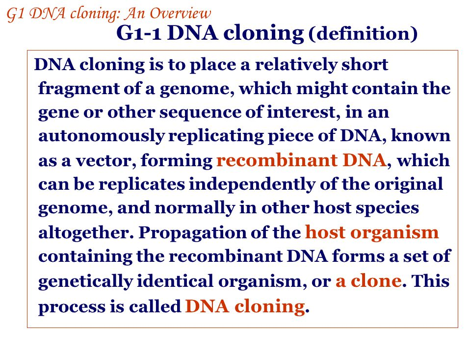 G1 DNA cloning: an overview Gene manipulation