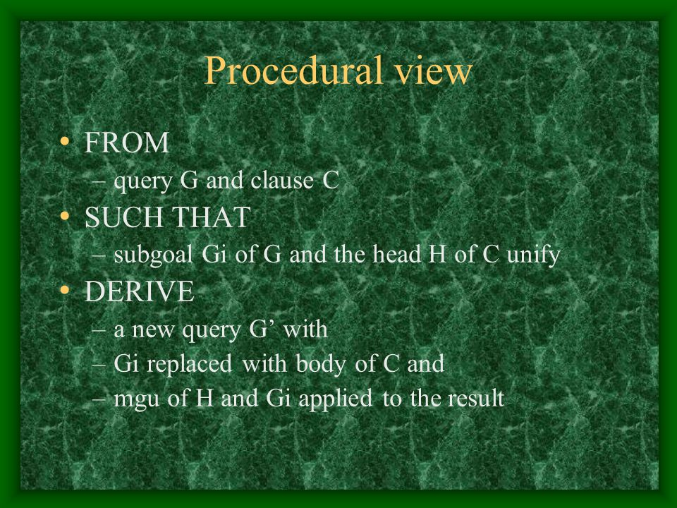 Procedural view FROM –query G and clause C SUCH THAT –subgoal Gi of G and the head H of C unify DERIVE –a new query G' with –Gi replaced with body of