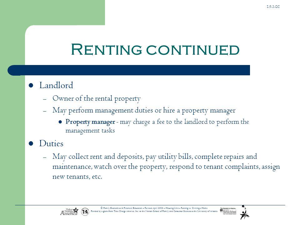 1.9.3.G1 © Family Economics & Financial Education – Revised April 2005 – Housing Unit – Renting vs.