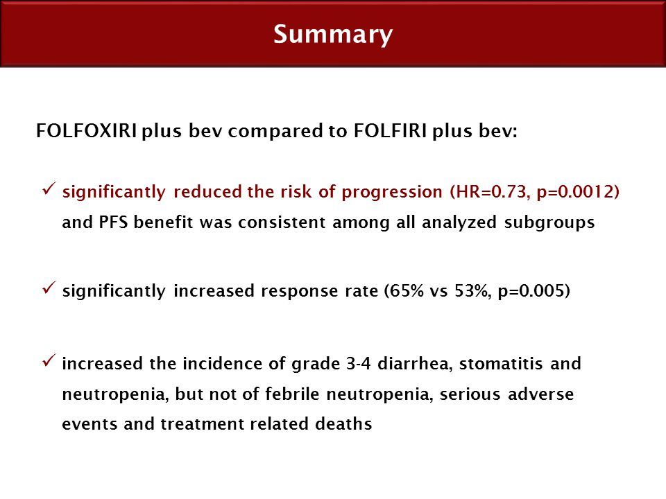 Summary FOLFOXIRI plus bev compared to FOLFIRI plus bev: significantly increased response rate (65% vs 53%, p=0.005) increased the incidence of grade