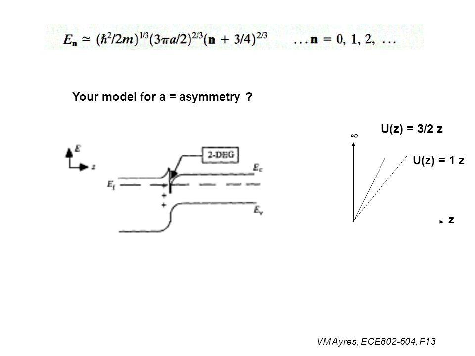 VM Ayres, ECE802-604, F13 Your model for a = asymmetry ? z U(z) = 3/2 z U(z) = 1 z