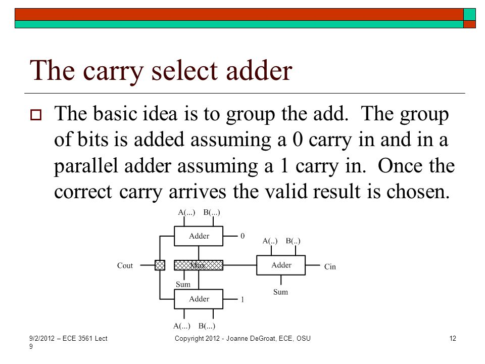 The carry select adder  The basic idea is to group the add. The group of bits is added assuming a 0 carry in and in a parallel adder assuming a 1 car