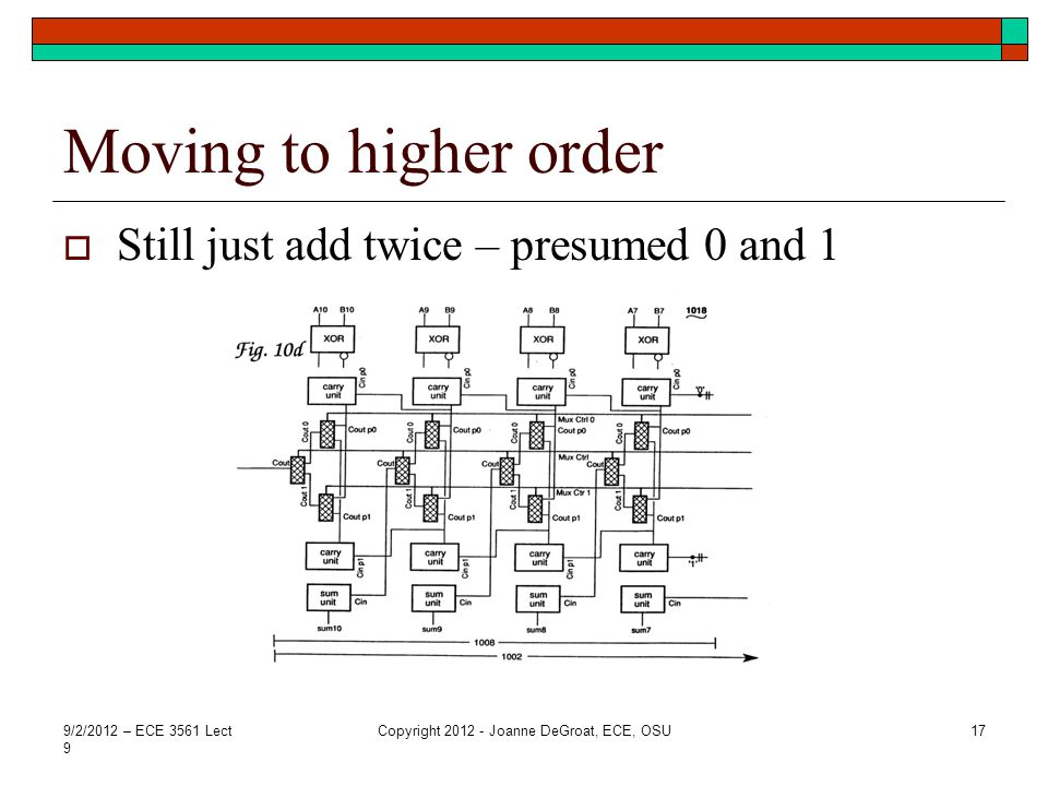 Moving to higher order  Still just add twice – presumed 0 and 1 9/2/2012 – ECE 3561 Lect 9 Copyright 2012 - Joanne DeGroat, ECE, OSU17