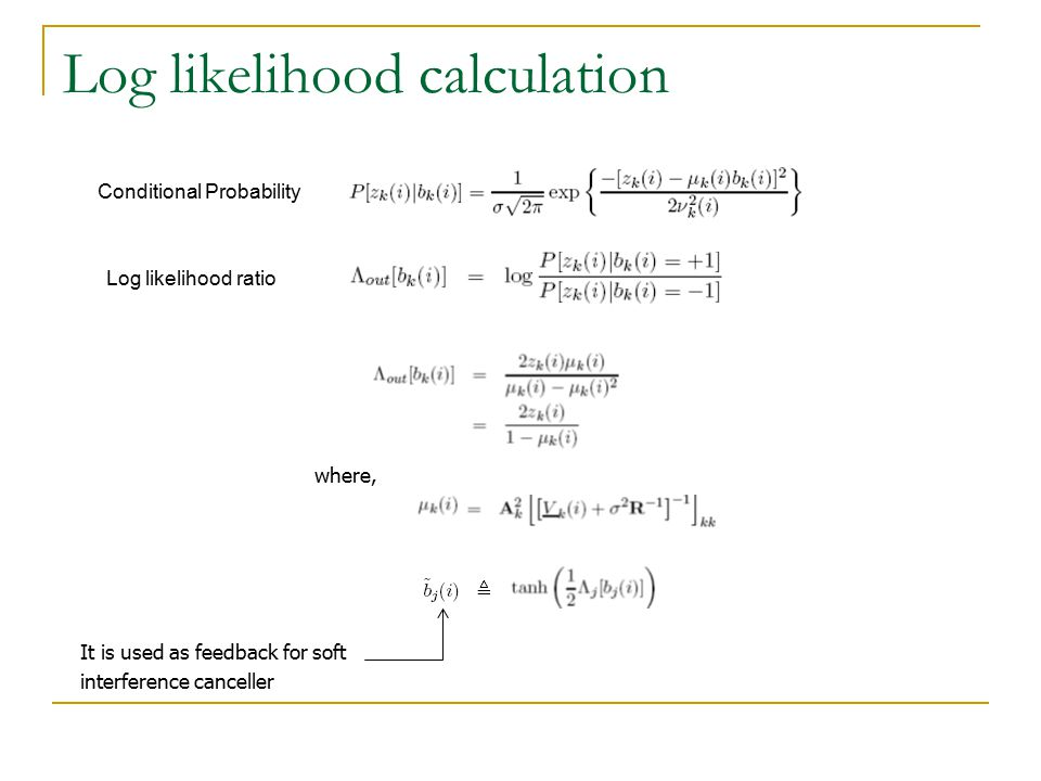 Log likelihood calculation where, It is used as feedback for soft interference canceller Conditional Probability Log likelihood ratio