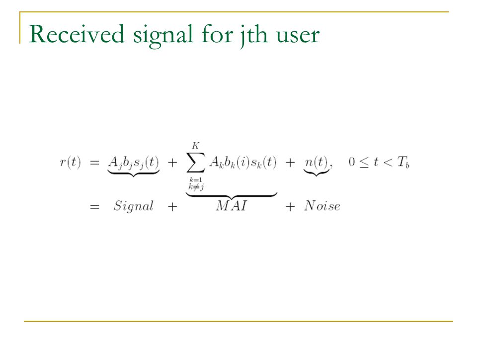 Received signal for jth user
