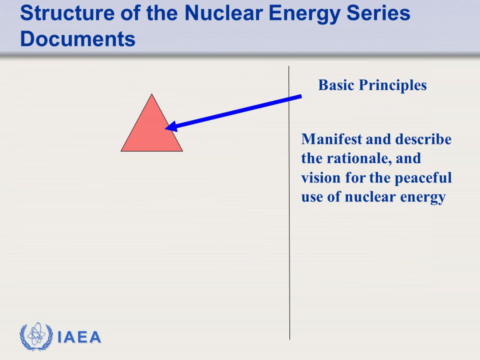 IAEA Structure of the Nuclear Energy Series Documents Basic Principles Manifest and describe the rationale, and vision for the peaceful use of nuclear