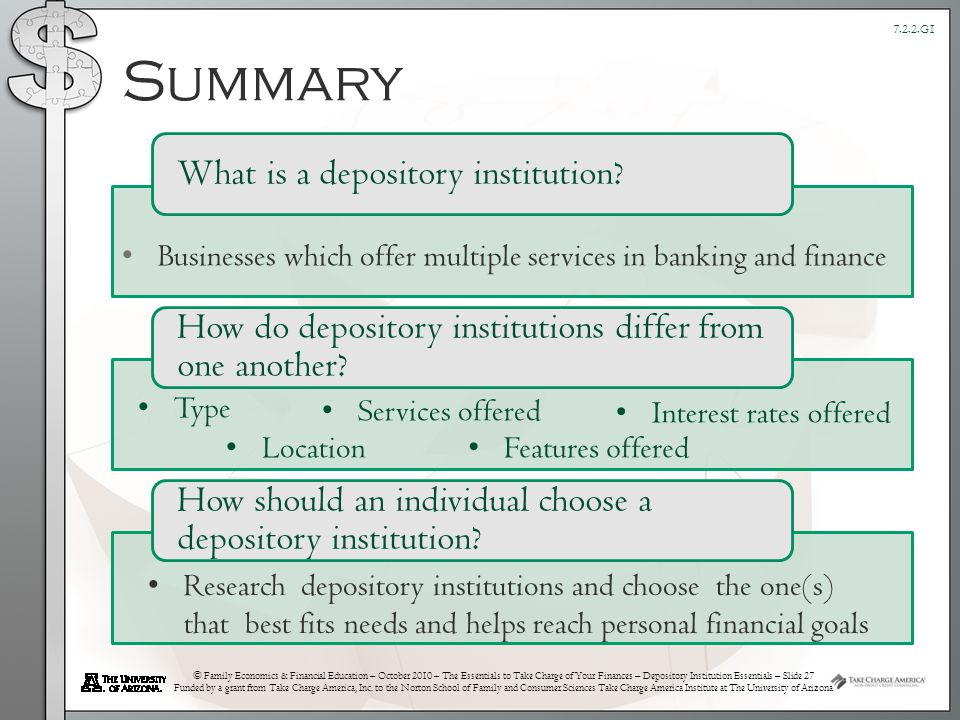 © Family Economics & Financial Education – October 2010 – The Essentials to Take Charge of Your Finances – Depository Institution Essentials – Slide 27 Funded by a grant from Take Charge America, Inc.