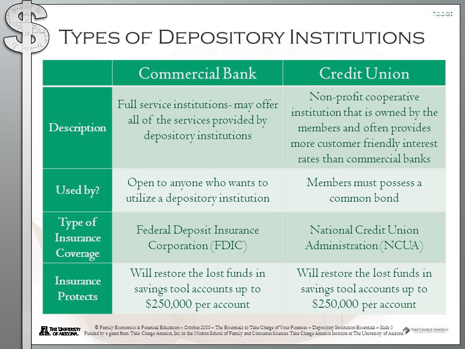 © Family Economics & Financial Education – October 2010 – The Essentials to Take Charge of Your Finances – Depository Institution Essentials – Slide 3 Funded by a grant from Take Charge America, Inc.