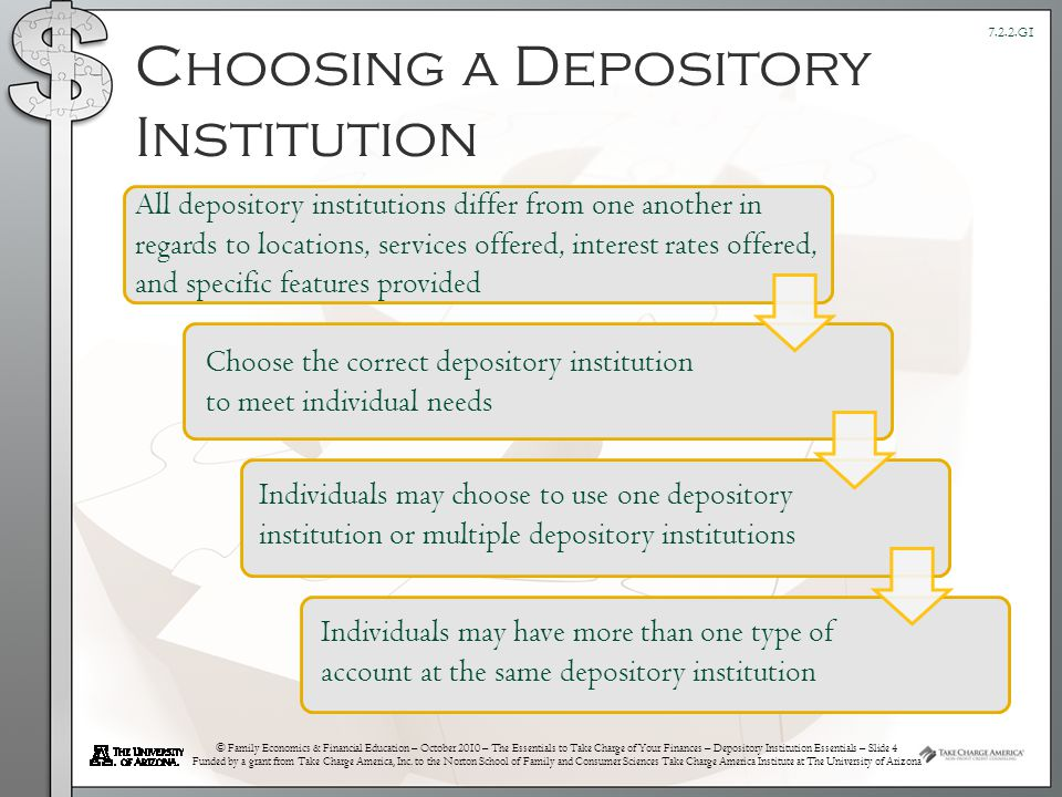 © Family Economics & Financial Education – October 2010 – The Essentials to Take Charge of Your Finances – Depository Institution Essentials – Slide 4 Funded by a grant from Take Charge America, Inc.