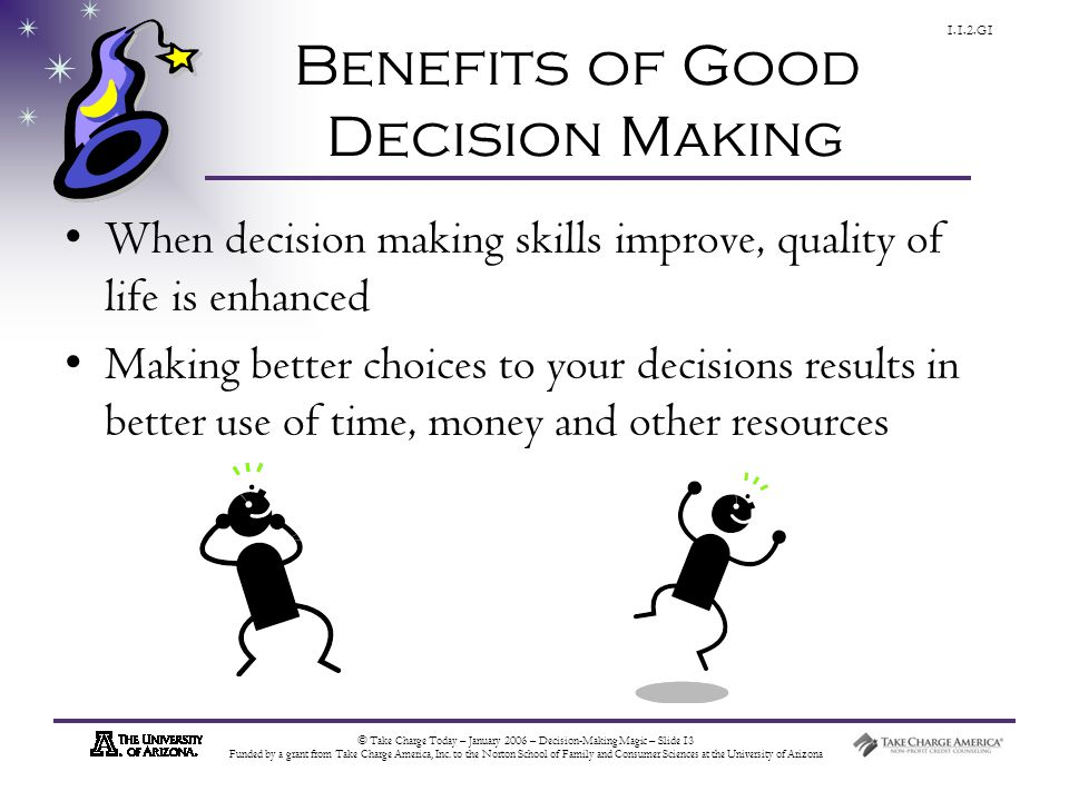 © Take Charge Today – January 2006 – Decision-Making Magic – Slide 13 Funded by a grant from Take Charge America, Inc.