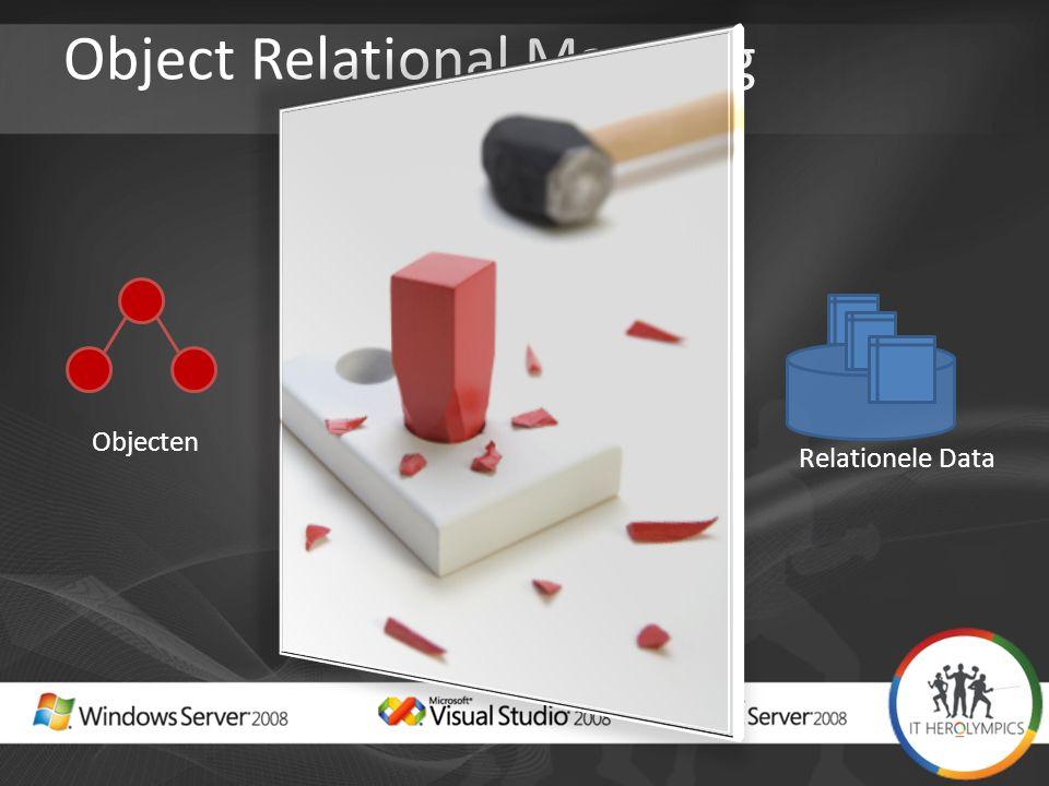 Object Relational Mapping Objecten Objects != Data Relationele Data