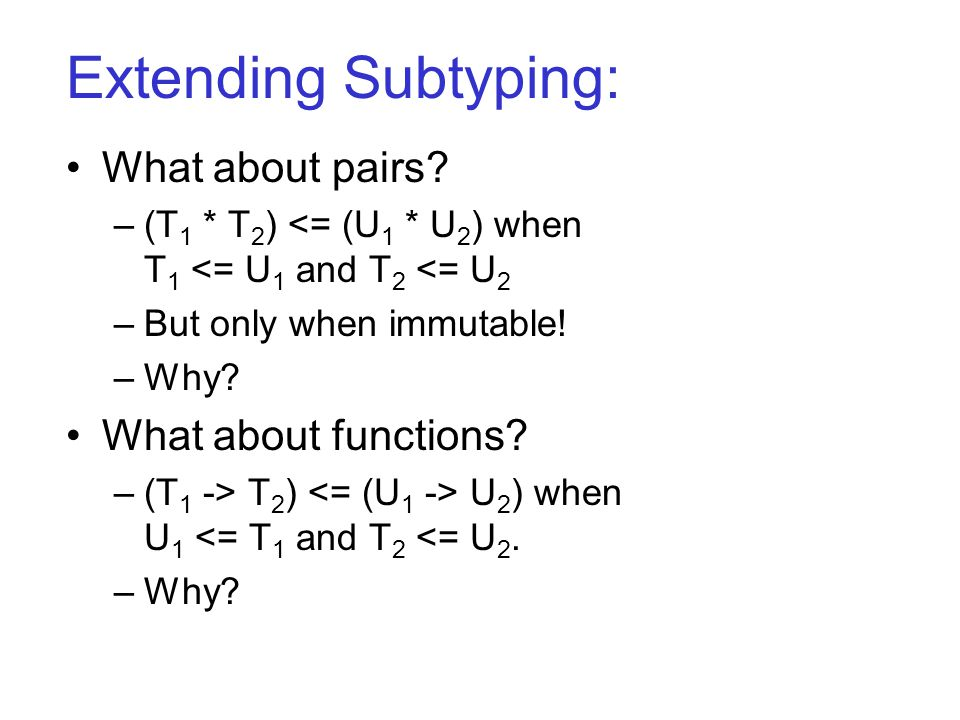 Extending Subtyping: What about pairs.