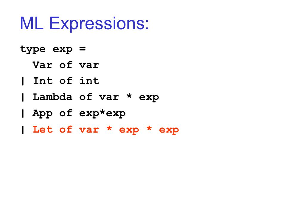 ML Expressions: type exp = Var of var | Int of int | Lambda of var * exp | App of exp*exp | Let of var * exp * exp