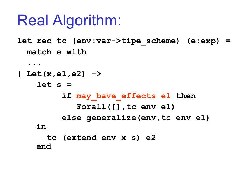 Real Algorithm: let rec tc (env:var->tipe_scheme) (e:exp) = match e with... | Let(x,e1,e2) -> let s = if may_have_effects e1 then Forall([],tc env e1)