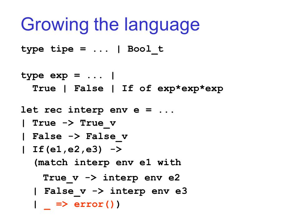 Growing the language type tipe =... | Bool_t type exp =... | True | False | If of exp*exp*exp let rec interp env e =... | True -> True_v | False -> Fa
