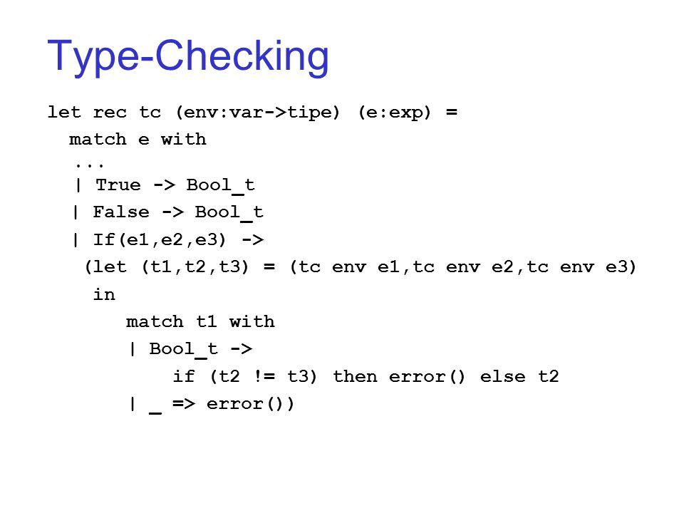 Type-Checking let rec tc (env:var->tipe) (e:exp) = match e with... | True -> Bool_t | False -> Bool_t | If(e1,e2,e3) -> (let (t1,t2,t3) = (tc env e1,t