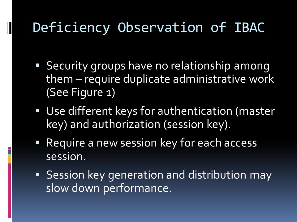 Deficiency Observation of IBAC  Security groups have no relationship among them – require duplicate administrative work (See Figure 1)  Use different keys for authentication (master key) and authorization (session key).