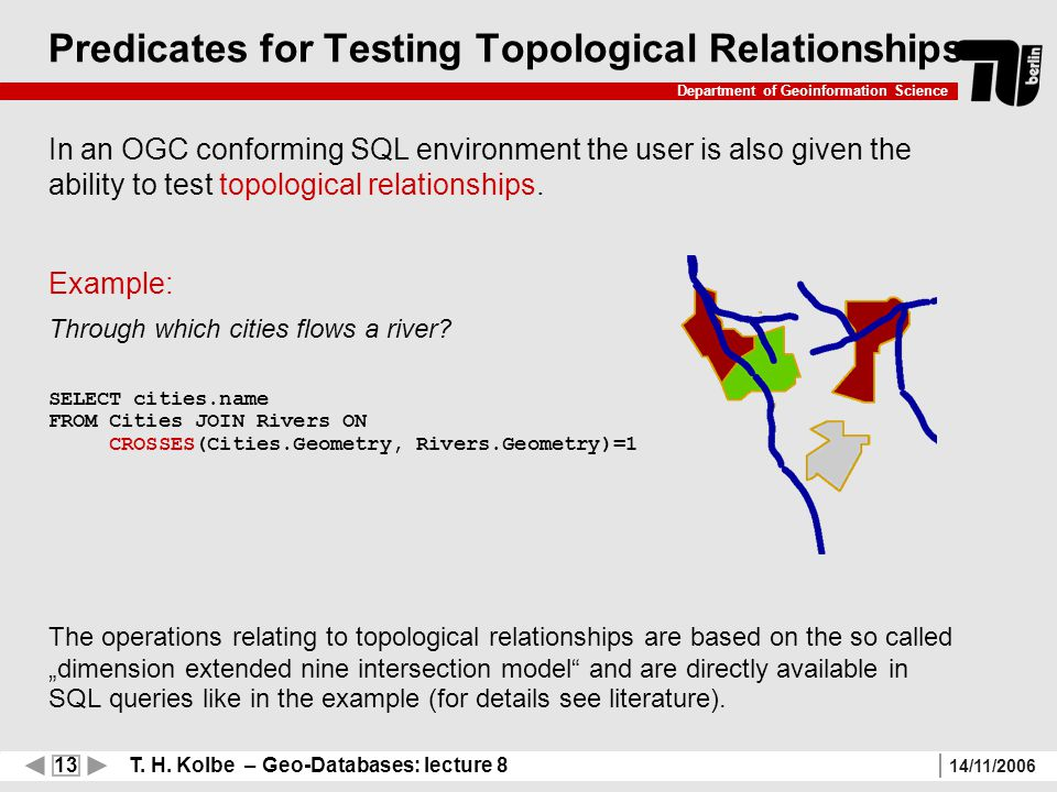 13 T. H. Kolbe – Geo-Databases: lecture 8 Department of Geoinformation Science 14/11/2006 Predicates for Testing Topological Relationships In an OGC c