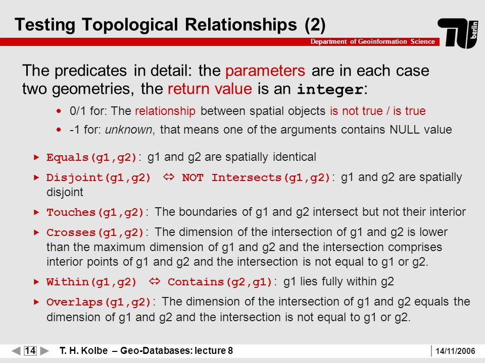 14 T. H. Kolbe – Geo-Databases: lecture 8 Department of Geoinformation Science 14/11/2006 Testing Topological Relationships (2) The predicates in deta