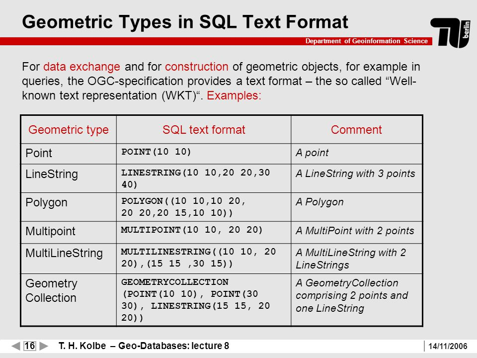 16 T. H. Kolbe – Geo-Databases: lecture 8 Department of Geoinformation Science 14/11/2006 Geometric Types in SQL Text Format For data exchange and for