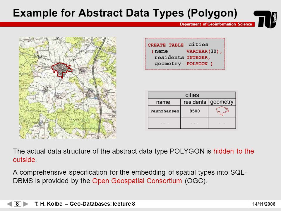 8 T. H. Kolbe – Geo-Databases: lecture 8 Department of Geoinformation Science 14/11/2006 Example for Abstract Data Types (Polygon) The actual data str