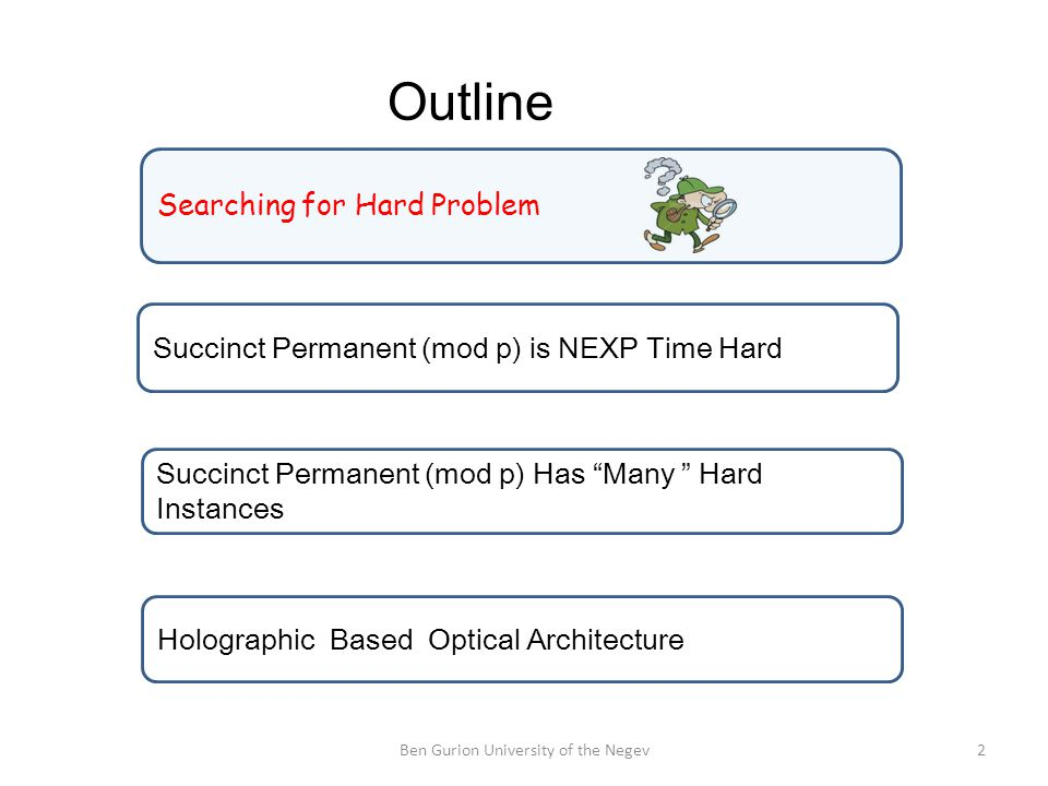 Outline 2Ben Gurion University of the Negev Searching for Hard Problem Succinct Permanent (mod p) is NEXP Time Hard Succinct Permanent (mod p) Has Many Hard Instances Holographic Based Optical Architecture